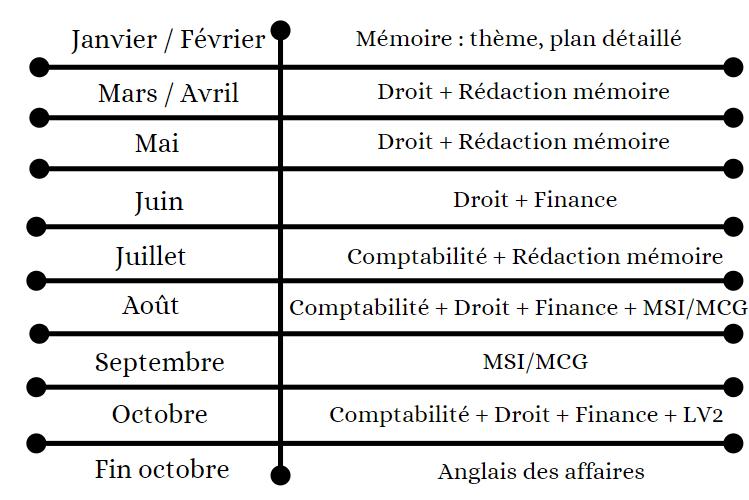 DSCG en 1 an - planning de révision